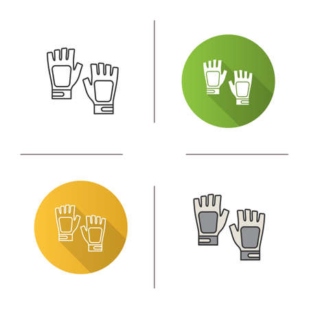 Fingerless gym gloves icon. Flat design, linear and color styles. Isolated vector illustrations 向量圖像