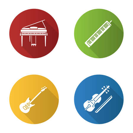 Musical instruments flat design long shadow glyph icons set. Piano, melodica, electric guitar, viola. Vector silhouette illustration Illustration
