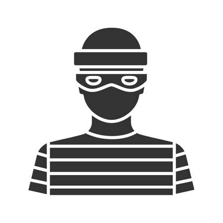Robber glyph icon. Thief. Housebreaker. Silhouette symbol. Negative space. Vector isolated illustration