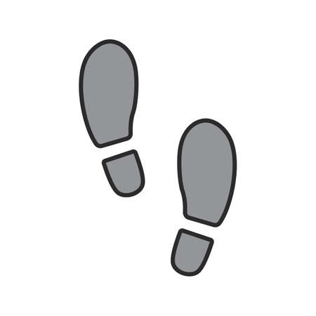 Footprints color icon. Footsteps. Evidence. Isolated vector illustration
