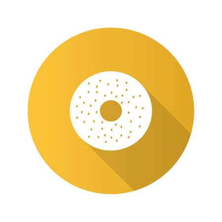 Bagel flat design long shadow glyph icon. Donut. Vector silhouette illustration