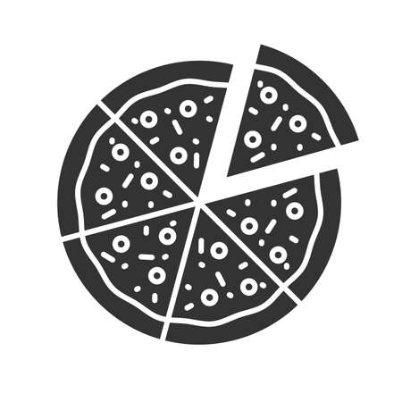 Pizza with one slice separated glyph icon. Silhouette symbol. Negative space. Vector isolated illustration Çizim