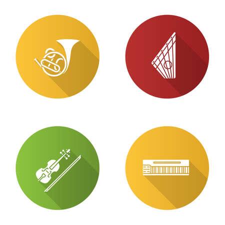Instruments de musique design plat icônes glyphe grandissime définies Cor français, gusli, violon, mellotron. Illustration de silhouette de vecteur
