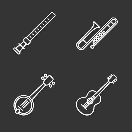 Musical instruments chalk icons set. Duduk, guitar, banjo, trombone. Isolated vector chalkboard illustrations Illustration
