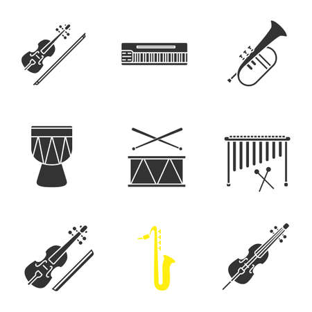 Musical instruments glyph icons set. Violin, mellotron, flugelhorn, kendang, drum, marimba, viola, saxophone, violoncello. Silhouette symbols. Vector isolated illustration Illustration