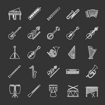 Musical instruments chalk icons set. Orchestra equipment. Stringed, wind, percussion instruments. Isolated vector chalkboard illustrations