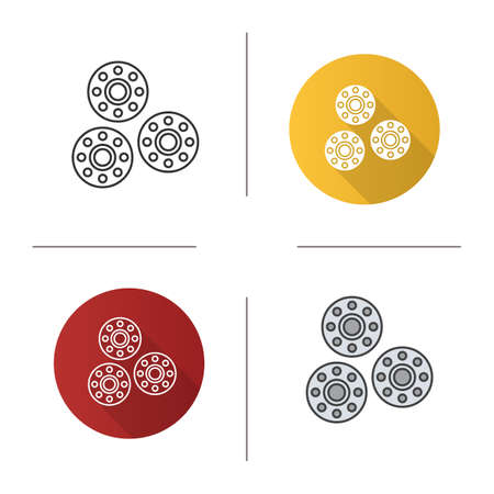 Bobbins icon. Flat design, linear and color styles. Sewing machine part. Isolated vector illustrations