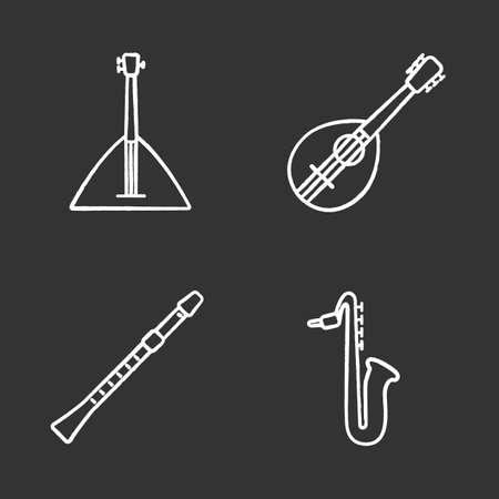 Musical instruments chalk icons set. Balalaika, mandolin, saxophone, flute. Isolated vector chalkboard illustrations Illustration