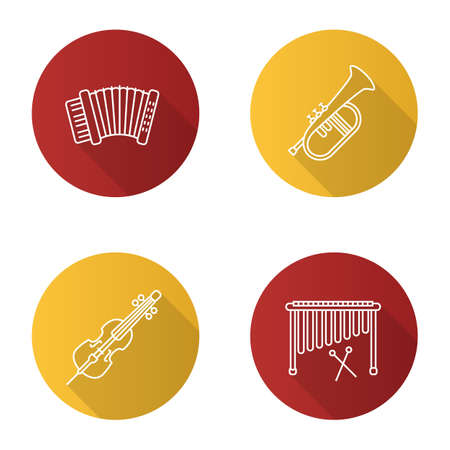 Musical instruments flat linear long shadow icons set. Accordion, violoncello, marimba, flugelhorn. Vector outline illustration Illustration