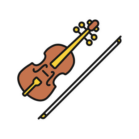 Violin color icon. Fiddle. Isolated vector illustration