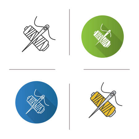 Sewing needle with thread spool icon. Flat design, linear and color styles. Tailoring. Isolated vector illustrations