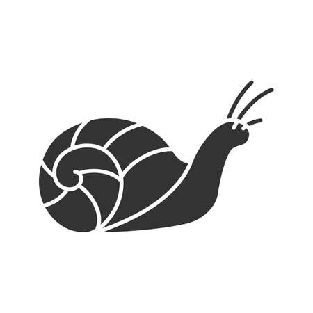 Snail glyph icon. Slug. Silhouette symbol. Negative space. Vector isolated illustration