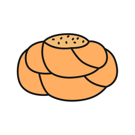 Pastry bread color icon. Sweet dough. Fancy bread. Isolated vector illustration