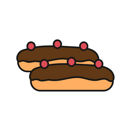 Eclair cake color icon. Isolated vector illustration