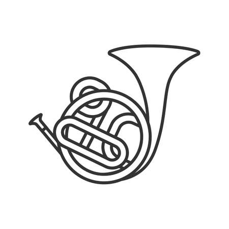 French horn linear icon. Thin line illustration. Contour symbol. Vector isolated outline drawing