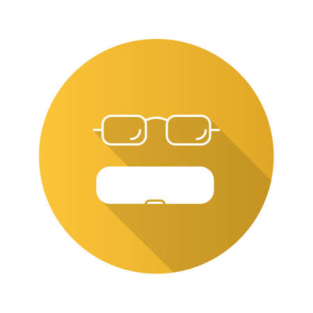 Eyeglasses case flat design long shadow glyph icon. Spectacles box. Vector silhouette illustration