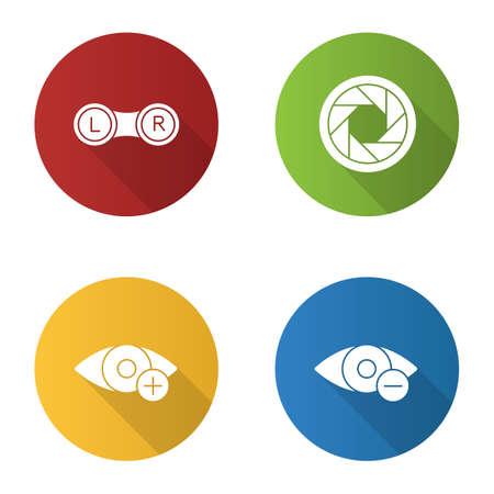 Ophtalmology flat design long shadow glyph icons set. Contact lenses box, diaphragm, hyperopia, myopia. Vector silhouette illustration