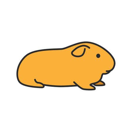 Icône de couleur Cavy. Cochon d'Inde domestique. Illustration vectorielle isolé