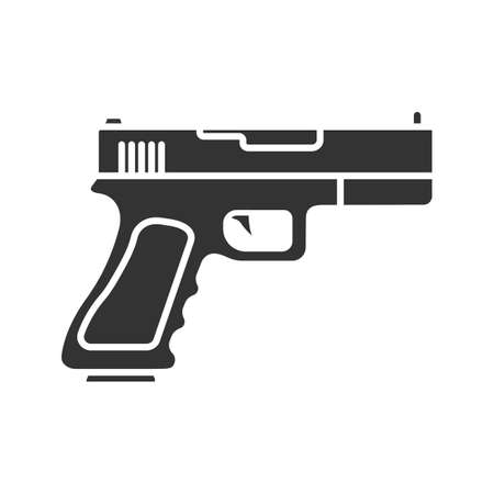 Gun, pistol glyph icon. Firearm. Silhouette symbol. Negative space. Vector isolated illustration
