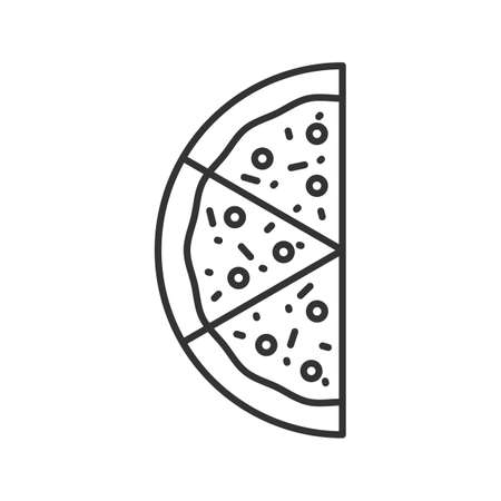 Half of pizza linear icon. Thin line illustration. Contour symbol. Vector isolated outline drawing