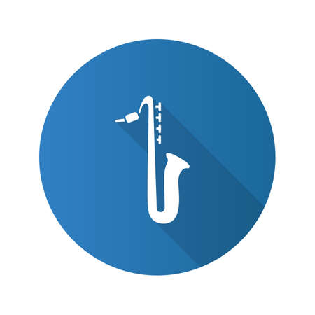 Saxophone flat design long shadow glyph icon. Sax. Vector silhouette illustration