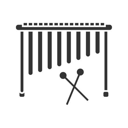Marimba glyph icon. Silhouette symbol. Negative space. Vector isolated illustration