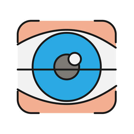 Retina scan color icon. Optometry. Eye authentication. Isolated vector illustration Illustration