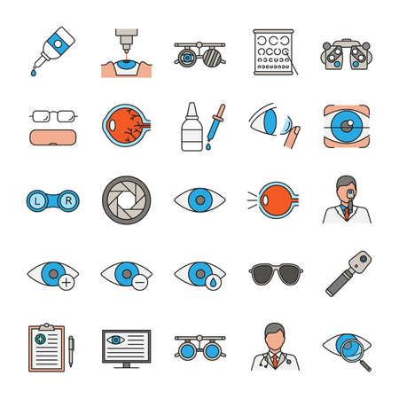 Conjunto de iconos de colores de Oftalmología. Optometría. Equipo de examen y tratamiento de la vista. Ilustraciones vectoriales aisladas Foto de archivo - 101614813