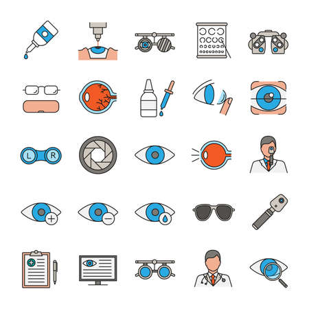 Ophtalmology color icons set. Optometry. Vision examination and treatment equipment. Isolated vector illustrations