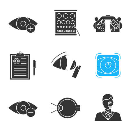 Ophtalmology glyph icons set. Hyperopia, Landolt chart, phoropter, medical report, contact lenses, retina scan, myopia, eye anatomy, ophthalmologist. Silhouette symbols. Vector isolated illustration