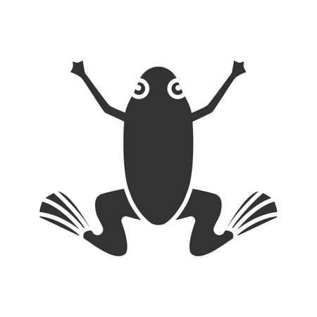 Frog glyph icon. Silhouette symbol. Toad. Negative space. Vector isolated illustration
