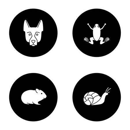 Pets glyph icons set. German Shepherd, frog, hamster, snail. Vector white silhouettes illustrations in black circles Illustration