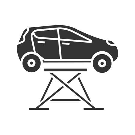 Car lift glyph icon. Auto repair jack. Silhouette symbol. Negative space. Vector isolated illustration
