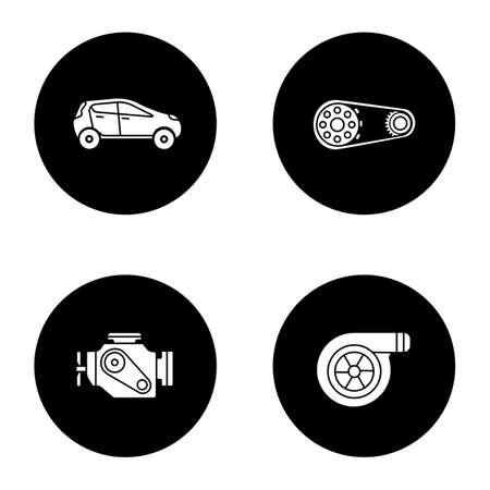 Auto workshop glyph icons set. Car, sprocket wheel, engine, turbocharger. Vector white silhouettes illustrations in black circles