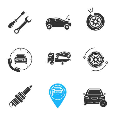 Auto workshop glyph icons set. Screwdriver and spanner, broken car, punctured tire, assistance, tow truck, wheel changing, spark plug, gps, total check. Silhouette symbol. Vector isolated illustration