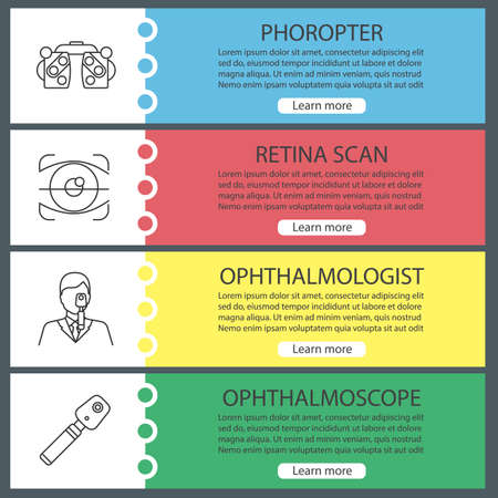 Ophtalmology web banner templates set. Phoropter, retina scan, ophthalmologist, ophthalmoscope. Website color menu items with linear icons. Vector headers design concepts Banque d'images - 101615137