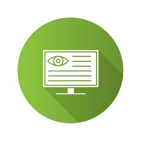 Eye diagnostic computer flat design long shadow glyph icon. Vision examination. Vector silhouette illustration