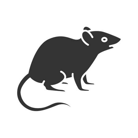 Mouse glyph icon. Rat. Silhouette symbol. Negative space. Vector isolated illustration Ilustração