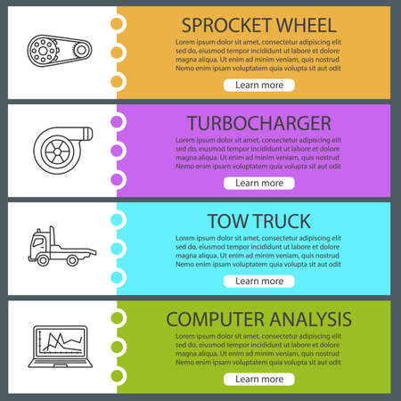 Auto workshop web banner templates set. Website color menu items with linear icons. Spocket wheel, turbocharger, tow truck, computer analysis. Vector headers design concepts