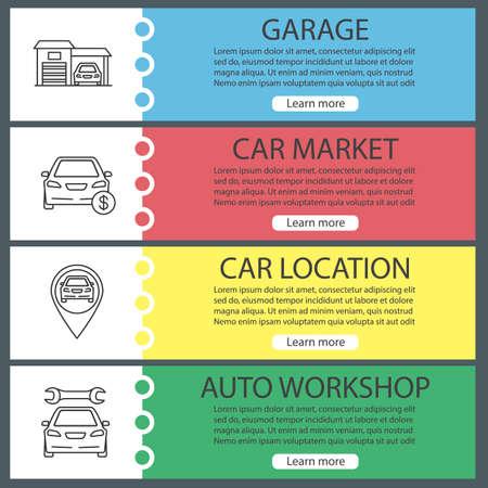 Auto workshop web banner templates set. Garage, car market, automobile location, repair service. Website color menu items with linear icons. Vector headers design concepts