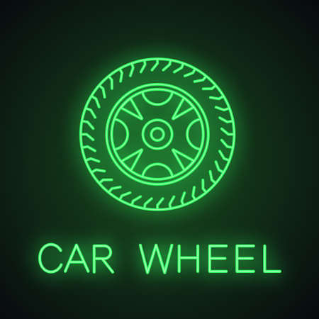 Car rim and tire neon light icon. Automobile wheel. Auto workshop glowing sign. Vector isolated illustration Illustration