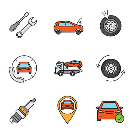Auto workshop color icons set. Screwdriver and spanner, broken car, punctured tire, roadside assistance, tow truck, wheel changing, spark plug, gps, total check. Isolated vector illustrations