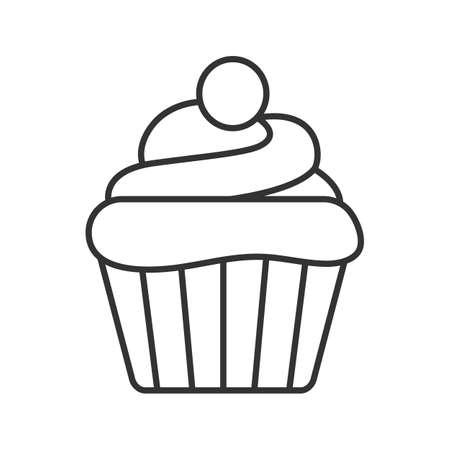 Cupcake lineares Symbol. Dünne Linie Abbildung. Muffin. Kontursymbol. Vektor isolierte Umrisszeichnung