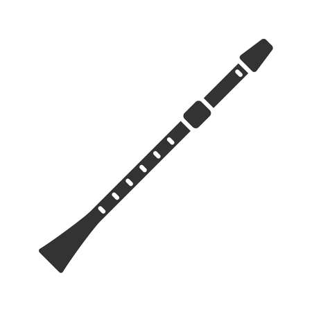 Flute glyph icon. Clarinet. Silhouette symbol. Negative space. Vector isolated illustration