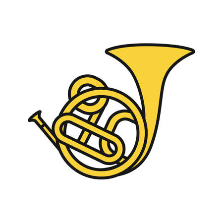 French horn color icon. Isolated vector illustration