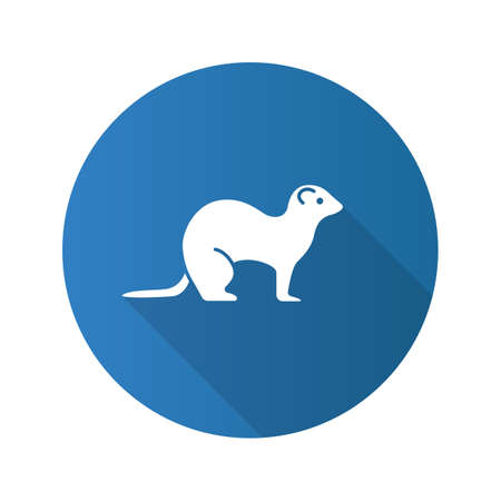 Ferret flat design long shadow glyph icon. Polecat. Vector silhouette illustration