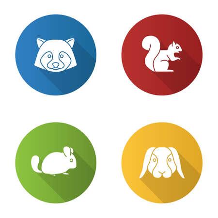 Pets flat design long shadow glyph icons set. Raccoon, squirrel, chinchilla, rabbit. Vector silhouette illustration