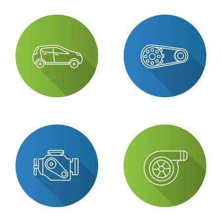 Auto workshop flat linear long shadow icons set. Car, sprocket wheel, engine, turbocharger. Vector outline illustration Illustration