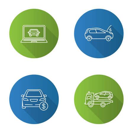 Auto workshop flat linear long shadow icons set. Computer diagnostics, broken car, automobile buying, tow truck. Vector outline illustration Illustration