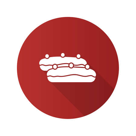 Eclair cake flat design long shadow glyph icon. Vector silhouette illustration